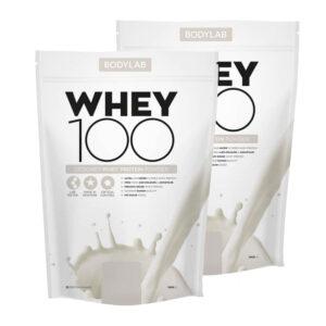 2 x BodyLab Whey 100 Proteinpulver Valgfri Smag (2 x 1kg)