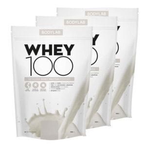 3 x BodyLab Whey 100 Proteinpulver Valgfri Smag (3 x 1kg)