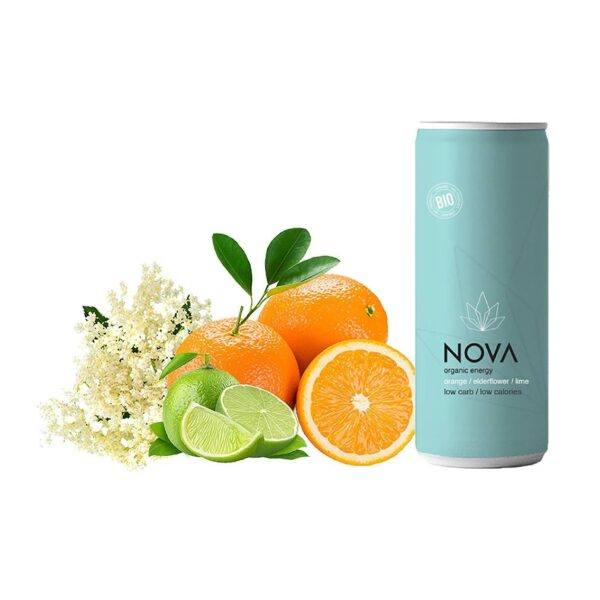 NOVA Organic Energy 24 stk. (Orange/Lime/Elderflower, 25 cl.)