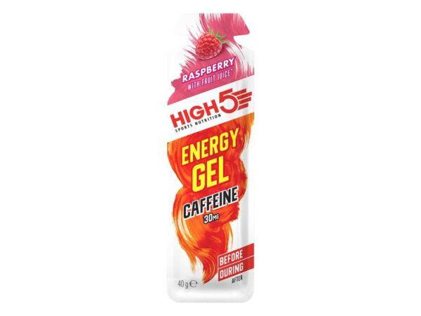 High5 EnergyGel+ - Hindbær 40 gram - 30mg koffein