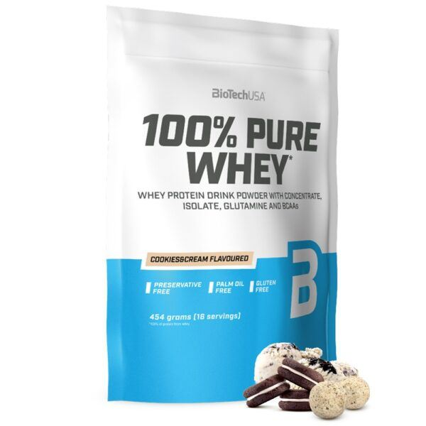 BioTechUSA 100% Pure Whey - Proteinpulver (1 kg) Cookies & Cream
