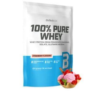 BioTechUSA 100% Pure Whey - Proteinpulver (1 kg) Strawberry
