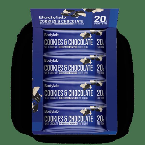BodyLab Protein Bar Cookies & Hvid Chokolade (12 x 55 g)