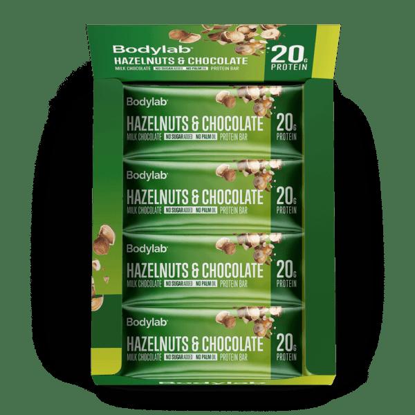 BodyLab Protein Bar Hasselnød & Chocolade (12 x 55 g)