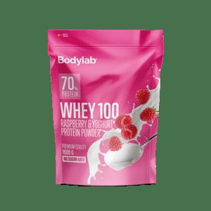 BodyLab Whey 100 Hindbær & Yoghurt Proteinpulver (1 x 1000 g)