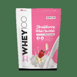 BodyLab Whey 100 Proteinpulver Jordbær Hvid Chokolade (1kg)