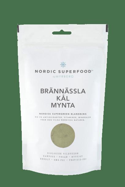 Nordic Superfood - Super Pulver Grøn - Brændenælde, Grønkål, Mynte 80 g